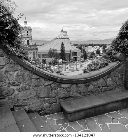 Basilica of Our Lady of Guadalupe in Mexico city (black and white) - stock photo