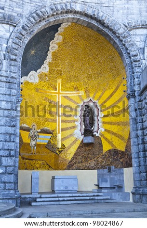 Basilica of Our Lady of the Rosary, Lourdes - stock photo