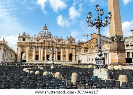Basilica of Saint Peter in Vatican in a summer day - stock photo