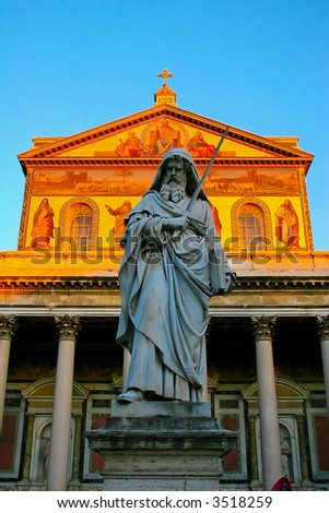 basilica of st. paul outside the walls rome - stock photo