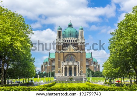 Basilica of the Sacred Heart and Parc Elisabeth in Brussels, Belgium - stock photo