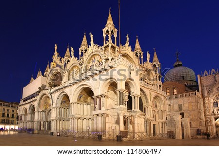 Basilica San Marco in the evening, Venice, Italy - stock photo