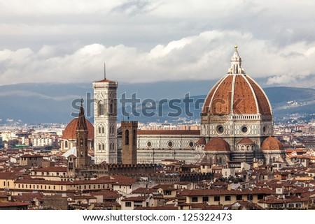 Basilica Santa Maria Del Fiore, the main church in Florence, Italy. - stock photo