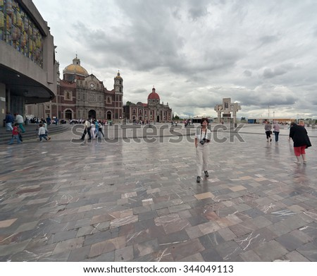 Basilica square of Our Lady of Guadalupe in Mexico city - Latin America - stock photo