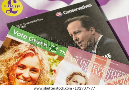 BASINGSTOKE, ENGLAND - MAY 14, 2014: Assorted campaign literature from parties competing in the European Parliamentary Elections in the South East region of the UK. - stock photo