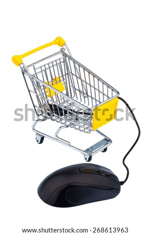 basket and computer mouse as a symbol for online shopping - stock photo