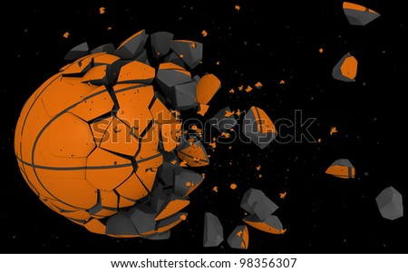basket ball broken in pieces - stock photo