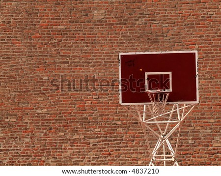 Basket ball hoop over brick background. - stock photo