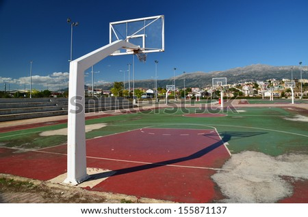 basket basketball outdoor field - stock photo