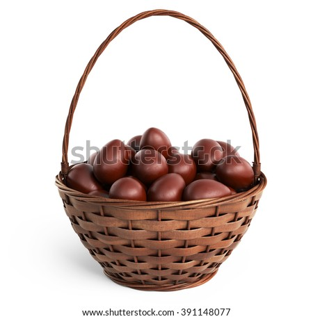 Basket filled chocolate eggs. Easter 3D, isolated on white background - stock photo