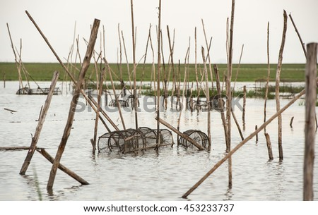 Basket fish trap catch crabs and fishes on the lagoon - stock photo