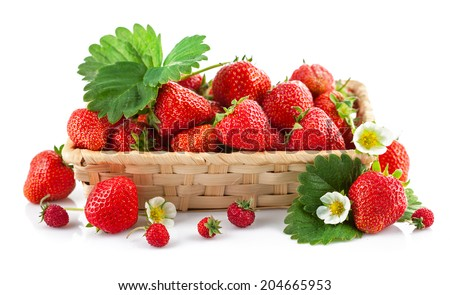 Basket fresh strawberry with green leaf and flower. Isolated on white background - stock photo