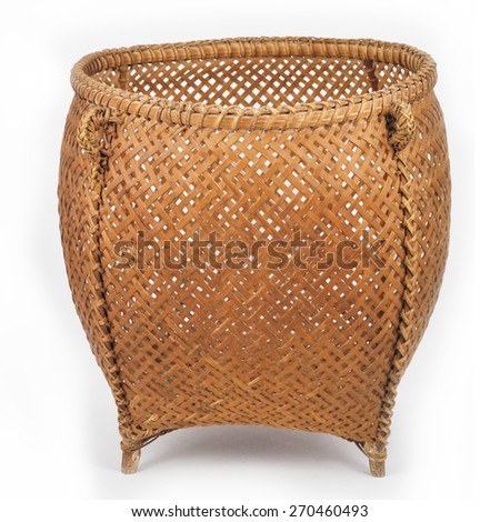 basket from bamboo on white background - stock photo