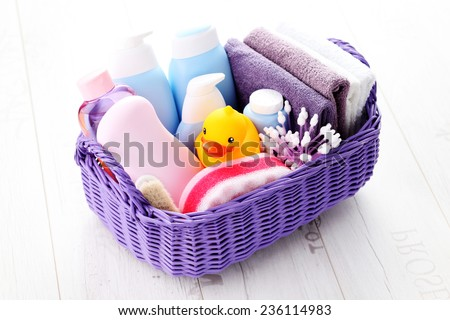 basket full of baby accessories - children - stock photo