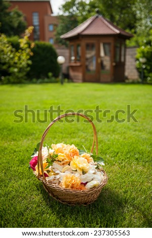 Basket full of various roses bloom laying in the garden - stock photo