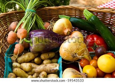 Basket full of vegtebles ready to be cooked - stock photo