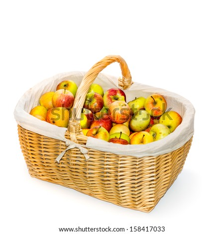 Basket of apples on white background - stock photo