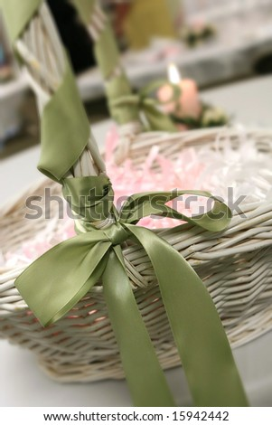 Basket of bubbles at a wedding reception. - stock photo