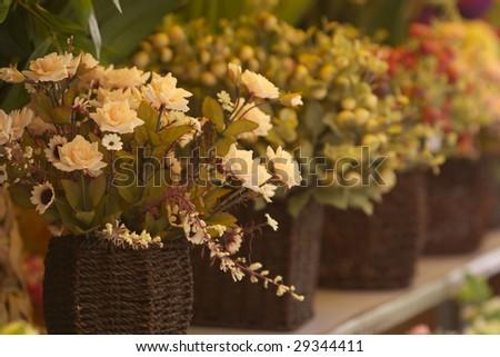 Basket of flowers - stock photo