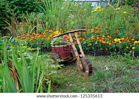 Basket of flowers in the form of a bicycle - stock photo