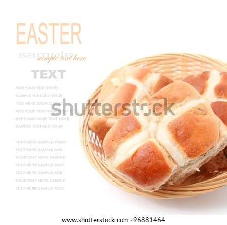 Basket of Hot Cross Buns isolated on white - stock photo