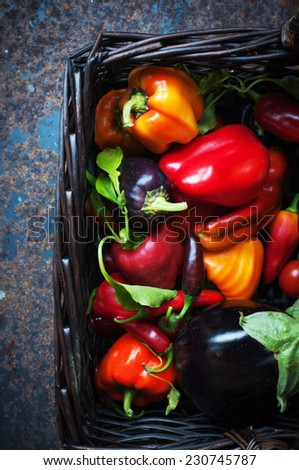 Basket of red yellow and orange peppers with eggplant from the garden - stock photo