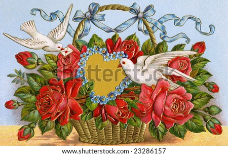 Basket of roses with two doves delivering a Valentine message of love - 1909 vintage greeting card illustration - stock photo