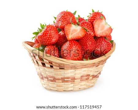 Basket of strawberries on white background - stock photo