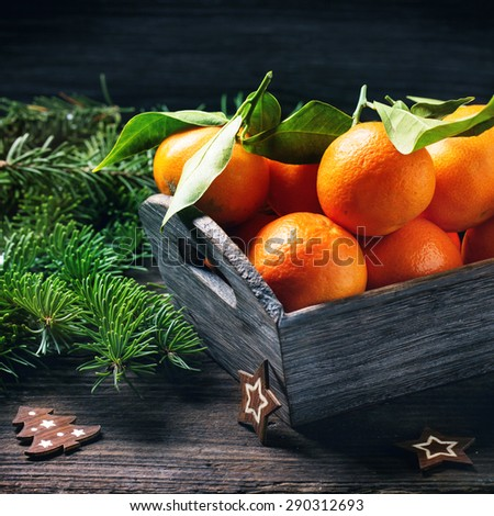 Basket of tangerines with leaves on wooden table with Christmas decor and Christmas tree. Square image - stock photo