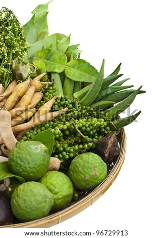 basket of thai homegrown vegetables - stock photo