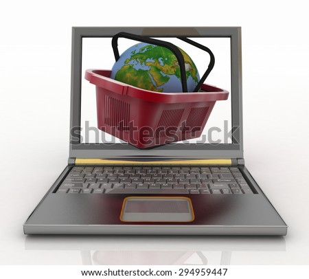 Basket of visit of shop with globe in a notebook. Concept of purchases of commodities in the Internet in the whole world. 3d illustration. - stock photo