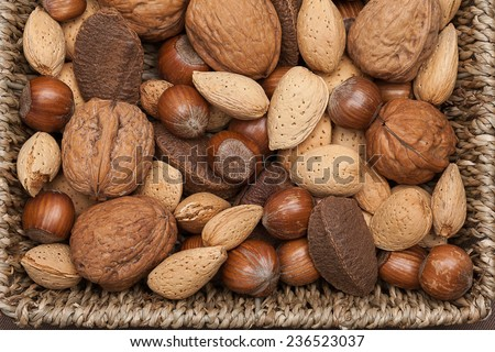 Basket reach in various kinds of nuts in shells, brazil nuts, almonds, hazelnuts and walnuts. - stock photo