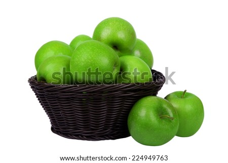 Basket with apples isolated on white background - stock photo