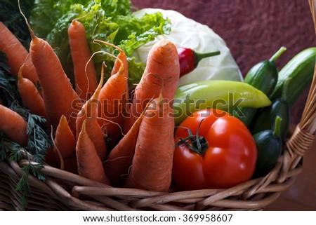 Basket With Fresh Organic Vegetables. - stock photo