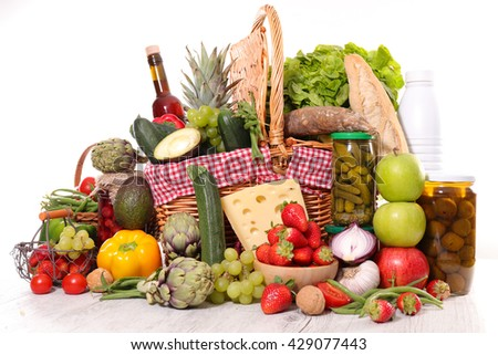 basket with fruit,vegetable and healthy food - stock photo