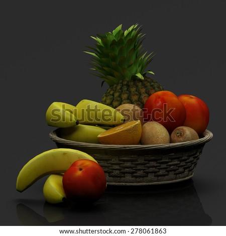 Basket with fruits isolated on black - stock photo