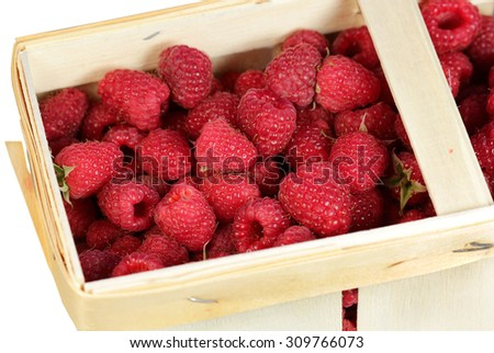 Basket with raspberry on a white background - stock photo