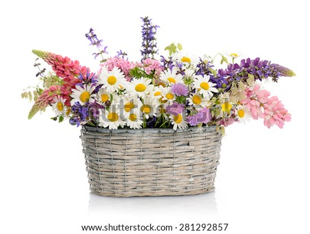 basket with wildflowers - stock photo