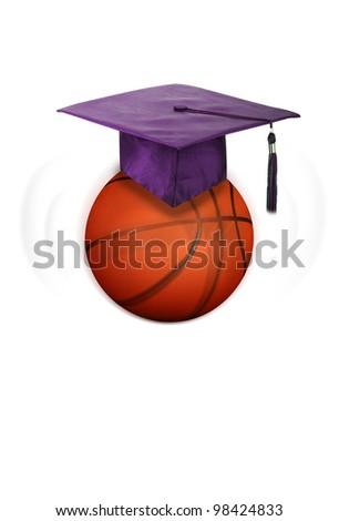 Basketball and College Graduation. - stock photo