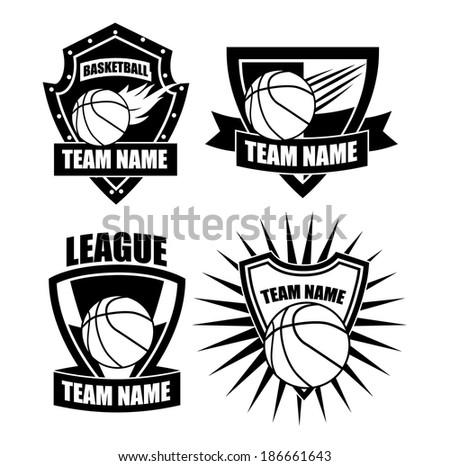 Basketball badge icon symbol set - stock photo