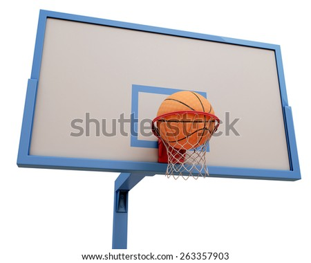 Basketball ball falling into a basketball hoop. 3d illustration. - stock photo