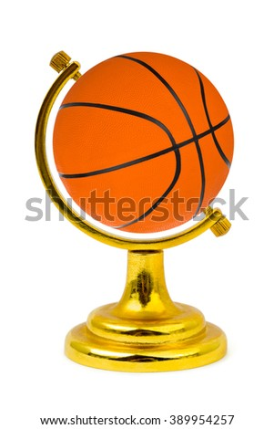 Basketball ball like a globe isolated on a white background - stock photo
