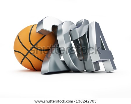basketball ball 2014 on a white background - stock photo
