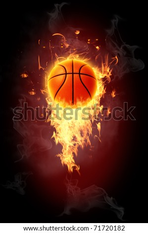 Basketball Ball on Fire - stock photo