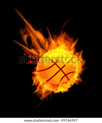 Basketball Ball on Fire on black background - stock photo