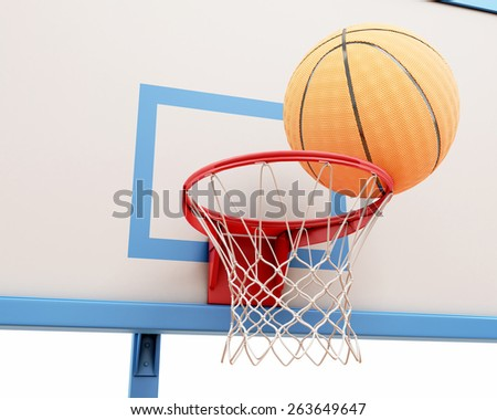 Basketball ball on the ring close-up. 3d render image. - stock photo