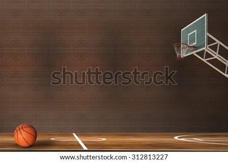 Basketball ball over hardwood basketball court - stock photo