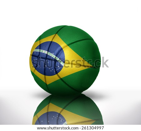 basketball ball with the national flag of brazil on a white background - stock photo