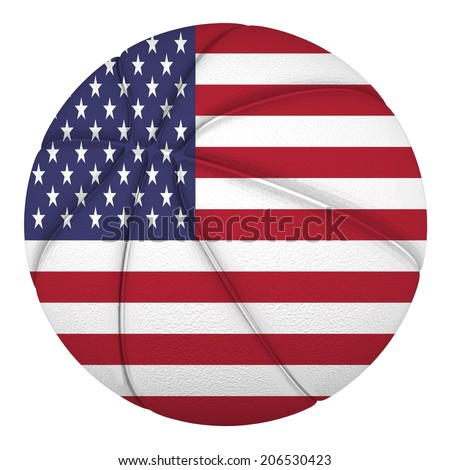 Basketball ball with USA flag. Isolated on white. - stock photo