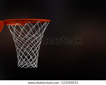 Basketball basket in arena with white nets on black background. - stock photo
